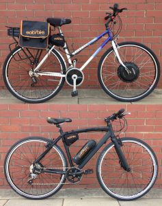 Two vastly different converted electric bicycles