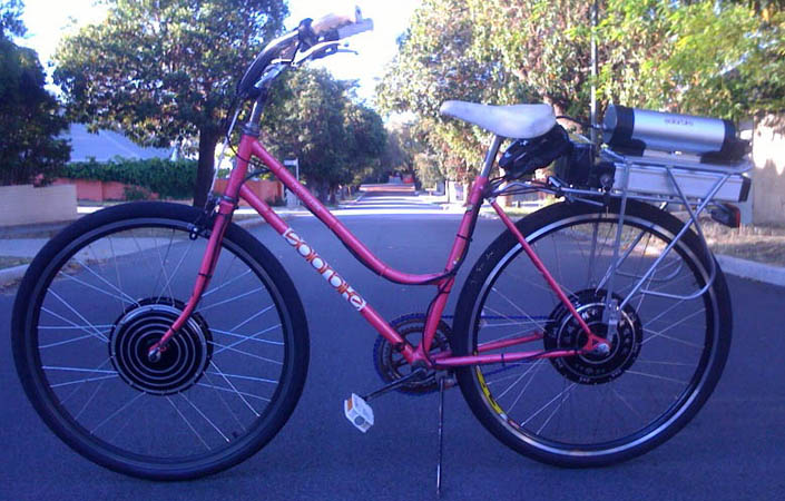 pink dual wheel electric bike