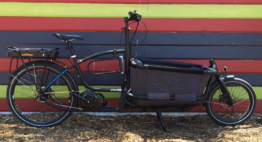 Electric Douze cargo bike with solar bike conversion kit